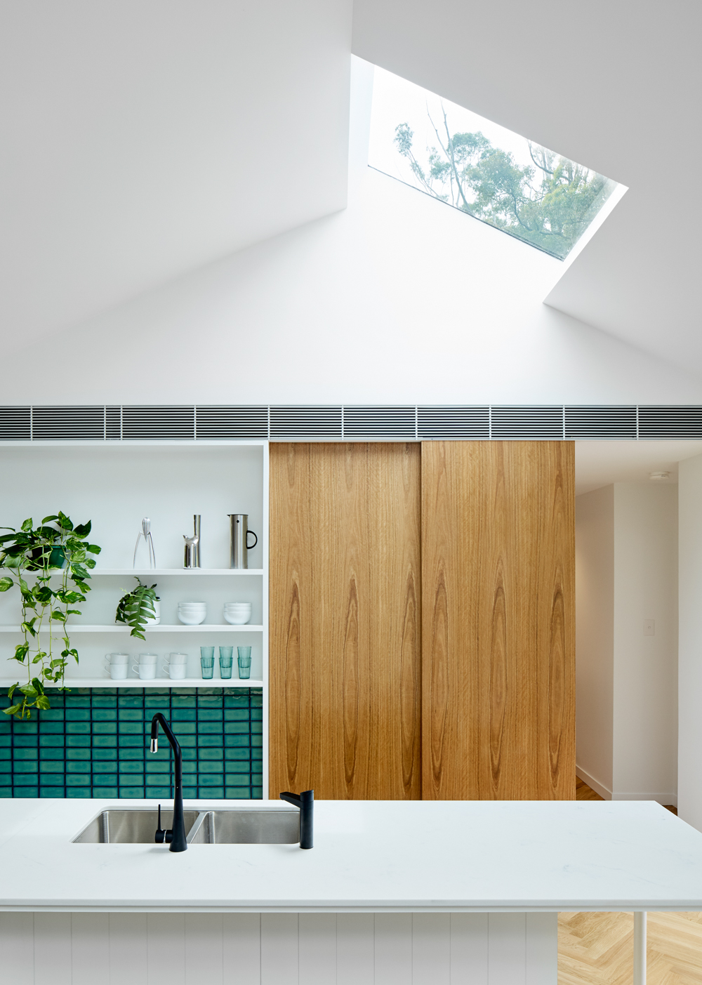 Looking at kitchen with skylight above