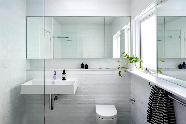Looking at bathroom