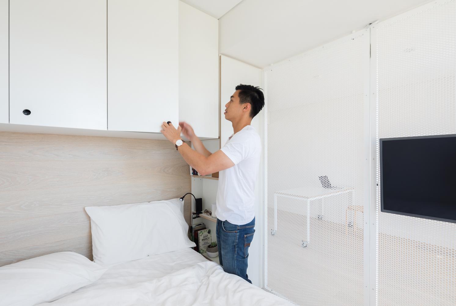 Tiny apartment bedroom