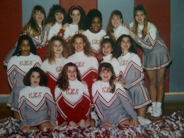 Cheer pic for good measure (she's gonna kill me ;)). That's me front row on the left - I had Mono for what felt like 3 months before they diagnosed what was wrong with me, so the start of my Sophomore year was a little rocky. That's Allison on the right, front row. This photo is great! Also, I've photographed 5 of these girl's families over the years...how awesome is that?