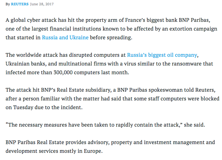 Ransomware Attack Strikes France's BNP Paribas