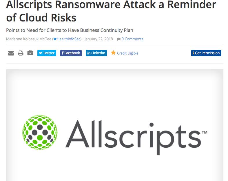 Allscripts experiences Ransomware attack