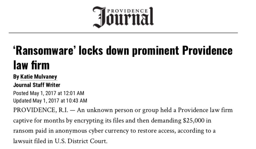 Providence law firm hit with Ransomware