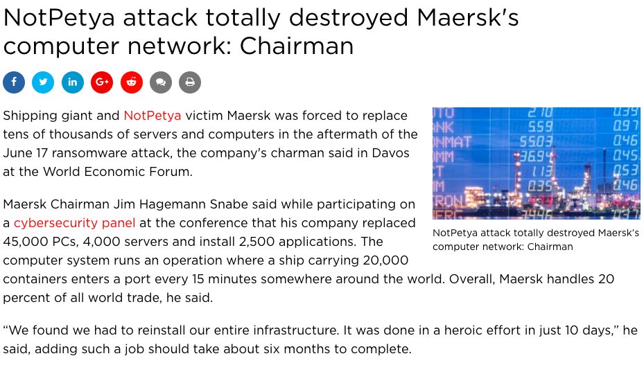 Maersk devastated by NotPetya Ransomware
