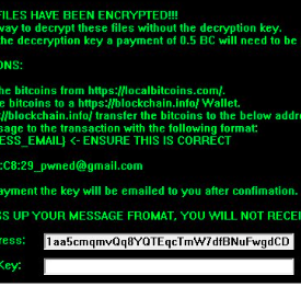 Ransom notice with re-used wallet address