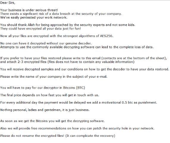 Example Ryuk ransom notice .txt file