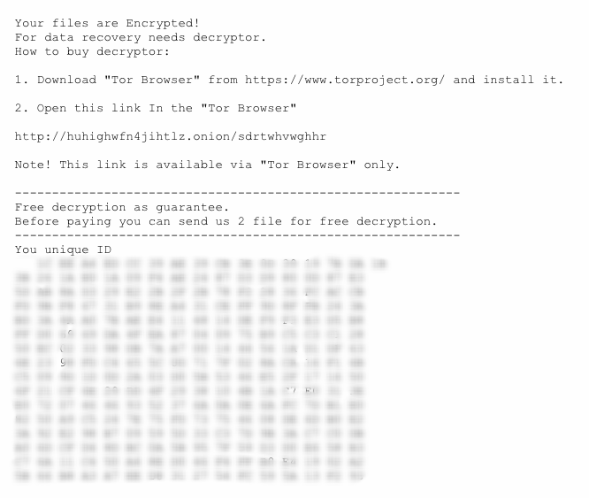 Example of Globelmposter Ransom notice directing the victim to an abandoned TOR site
