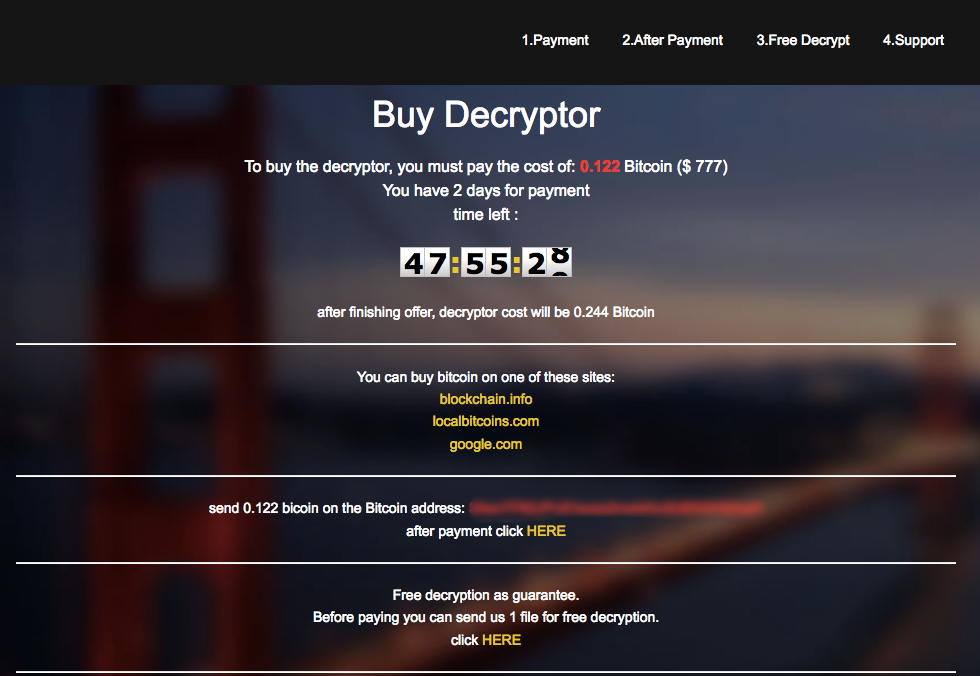 TOR Landing page for Globelmposter Ransomware