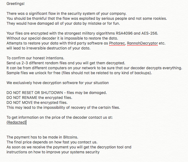 Example Bitpayer ransom notice .txt file