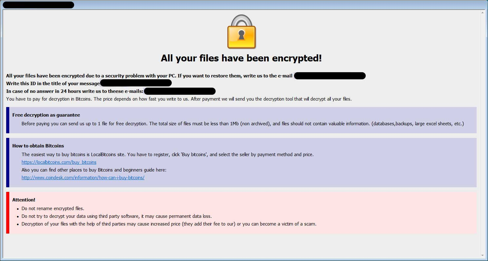 The standard format and layout of a Dharma Ransomware Ransom Note