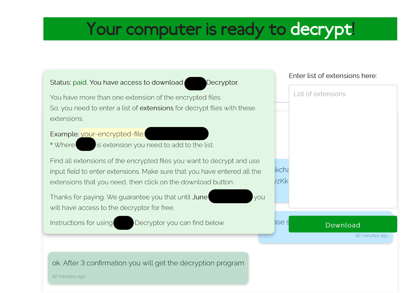 Sodinokibi Ransomware Payment Confirm