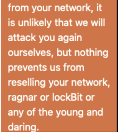 Screenshot of a message from Maze about sharing victim data with other groups