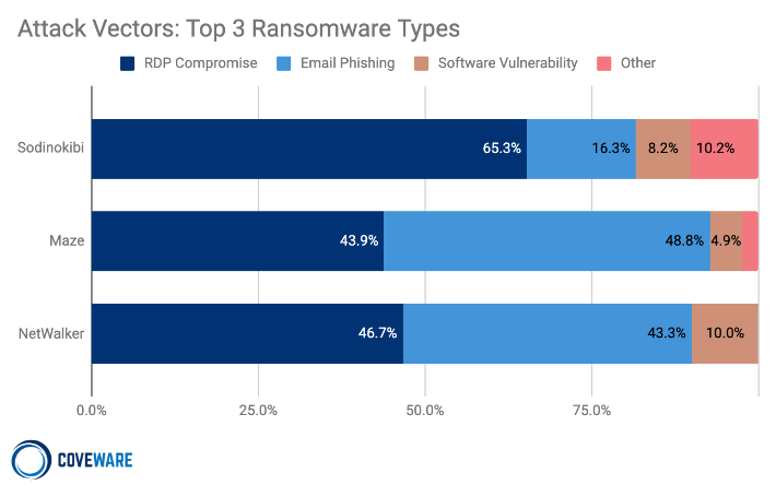 Top 3 Ransomware Types: Sodinokibi, Maze, and NetWalker.