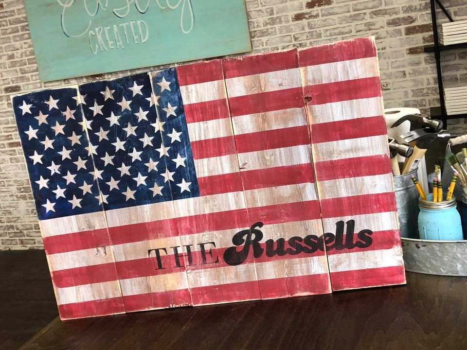 Large Wooden American Flag $52