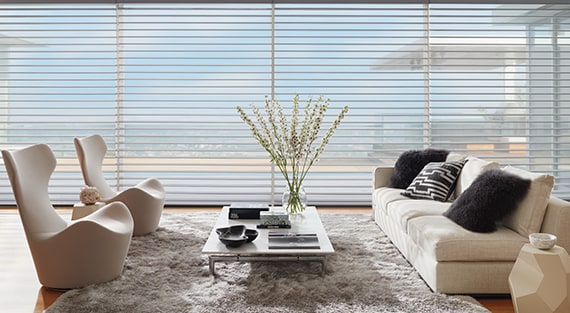 SILHOUETTE®Silhouette® Window Shadings feature soft adjustable fabric vanes that appear to be floating between two sheer fabric panels that beautifully diffuse harsh sunlight. Simply tilt the vanes to achieve your desired level of light and privacy. -
