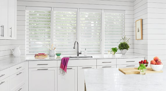 PIROUETTE®Our innovative Pirouette® Window Shadings feature soft horizontal fabric vanes attached to a single sheer backing. This allows for enhanced views to the outside while maintaining privacy and the full beauty of the fabric on the inside. -