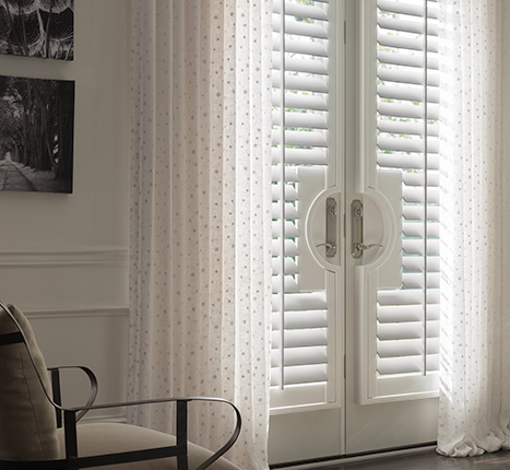 Graber Traditions®Composite ShuttersGraber Traditions®Composite Shutters bring the classic, refined look of shutters to rooms that require a particularly durable solution. Designed to not warp, fade, crack, or peel, these shutters are built to withstand the rigors of a busy household. Perfect for high-humidity areas, they are ideal in kitchens, laundry rooms, and bathrooms. -