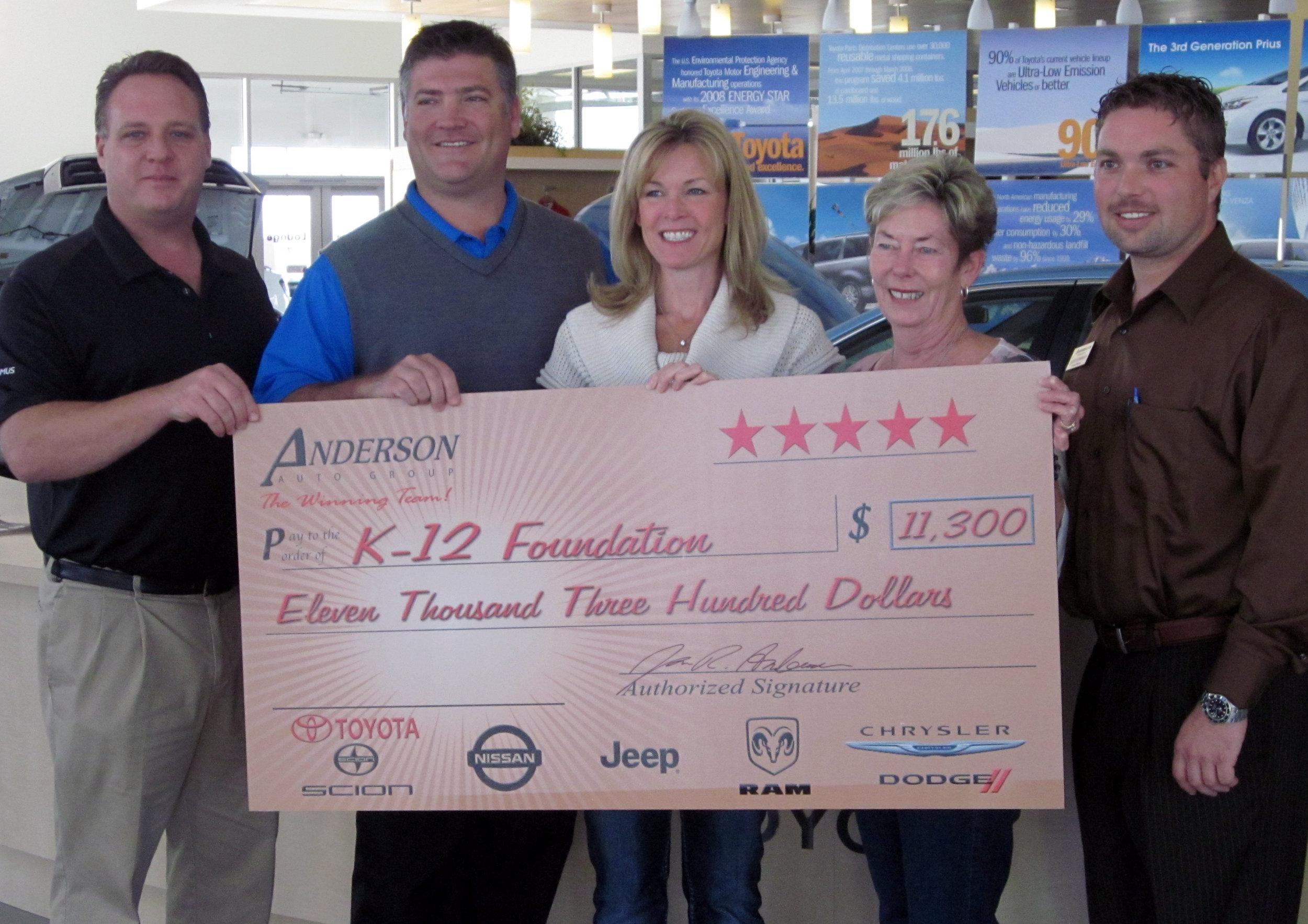 Anderson Auto Group Donation Feb 2012