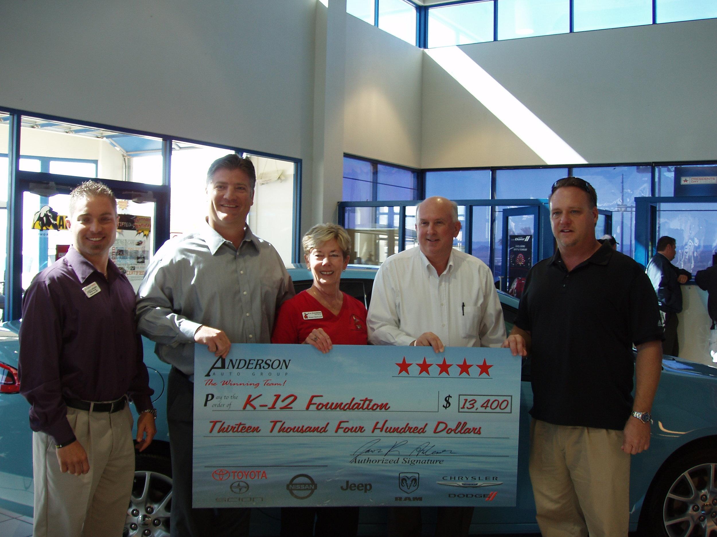 Anderson Auto Dealerships K12 Donation Feb 2013