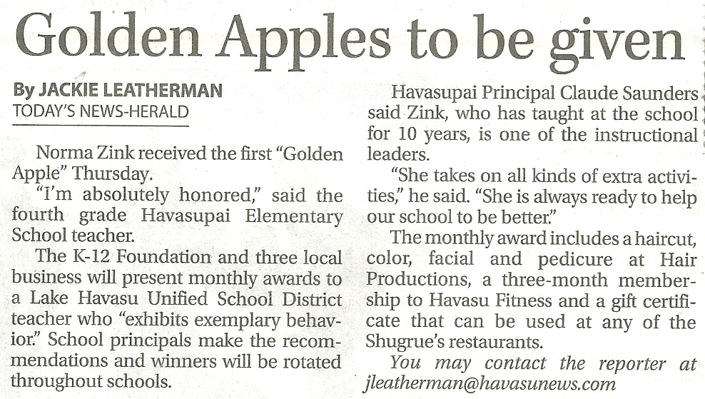 See the first 2012 Sherry Dailey Golden Apple Awards →