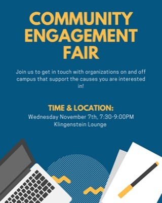 Join us Wednesday for our Community Engagement and get involved in great organizations! There will be snacks.