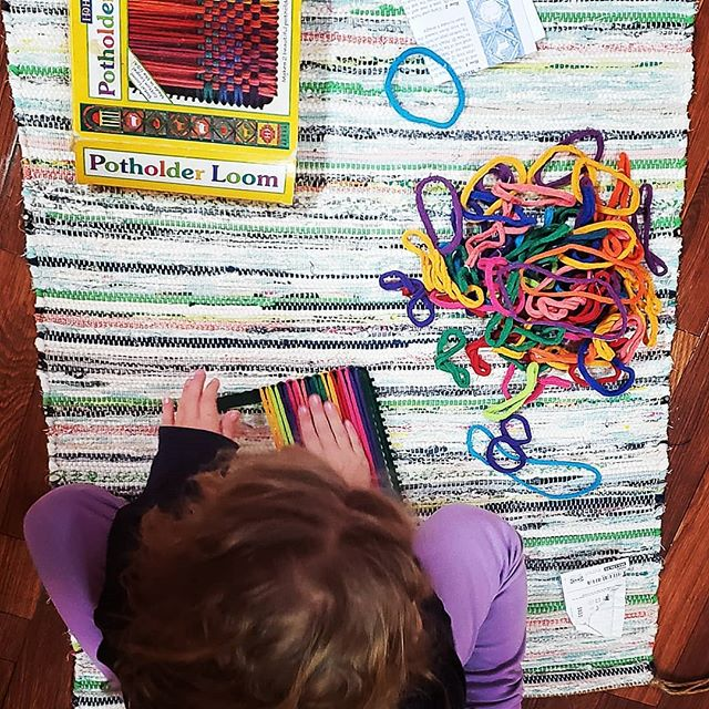 """Meditative #montessori inspired works are a great way to ease into returning from a bit of time off for the Cottoneood Kids! This will be """"weaving"""" into the week and beyond..."""