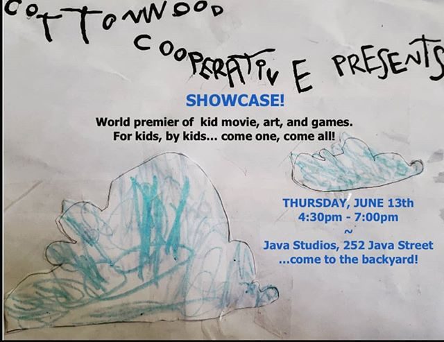 SHOWCASE TOMORROW!  All are welcome to see the the work of the Cottonwood Kids