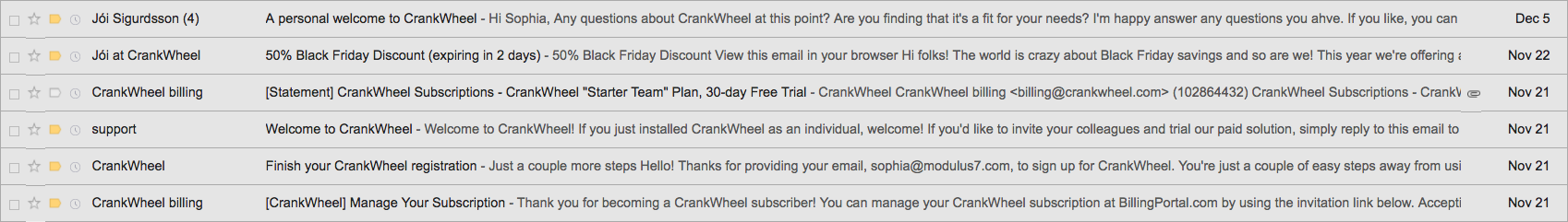 For more about CrankWheel, keep scrolling to find my sample review of their emails.