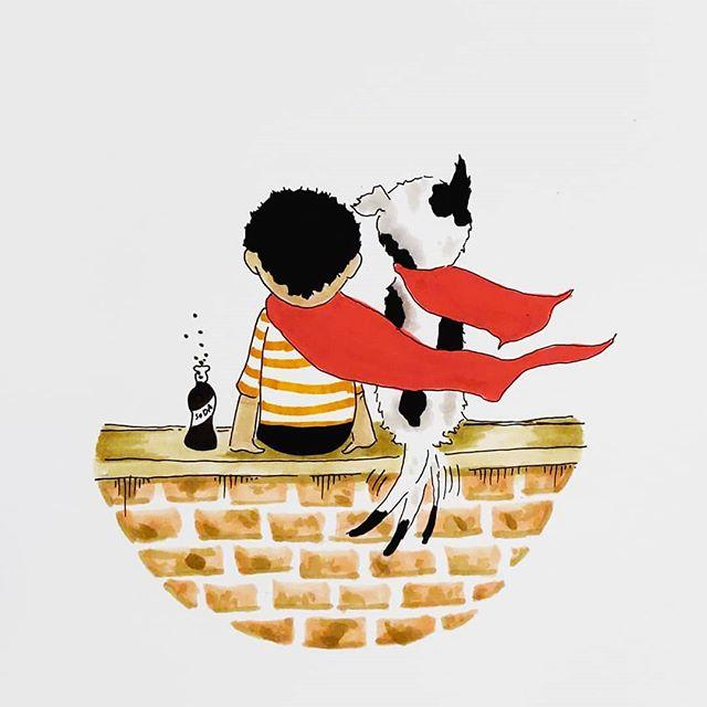 Super best friends . . . #illustrationartist #artistofinstagram #artoftheday #art #imagination #madebykersey #illustration #handdrawn #marker #pen #copic #cartoon #cartoonart #cartoonist #americana #neworleansartist #boyandhisdog #childrensbooks #childrensbookart #children #sodapop #super #comic #bestfriendgoals