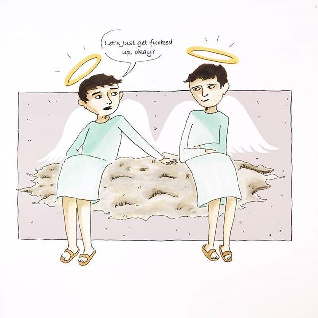 Friends of eternity. An Angel's treat . . . #illustrationartist #illustrationartist #imagination #illustrator #illustration #cartoon #cartoonart #cartoonartist #comic #funny #darkhumor #angel #friendshipgoals #artistofinstagram #artoftheday #madebykersey #makearteveryday #badjokes #haha #editorialillustration #heaven #letsgetfuckedup
