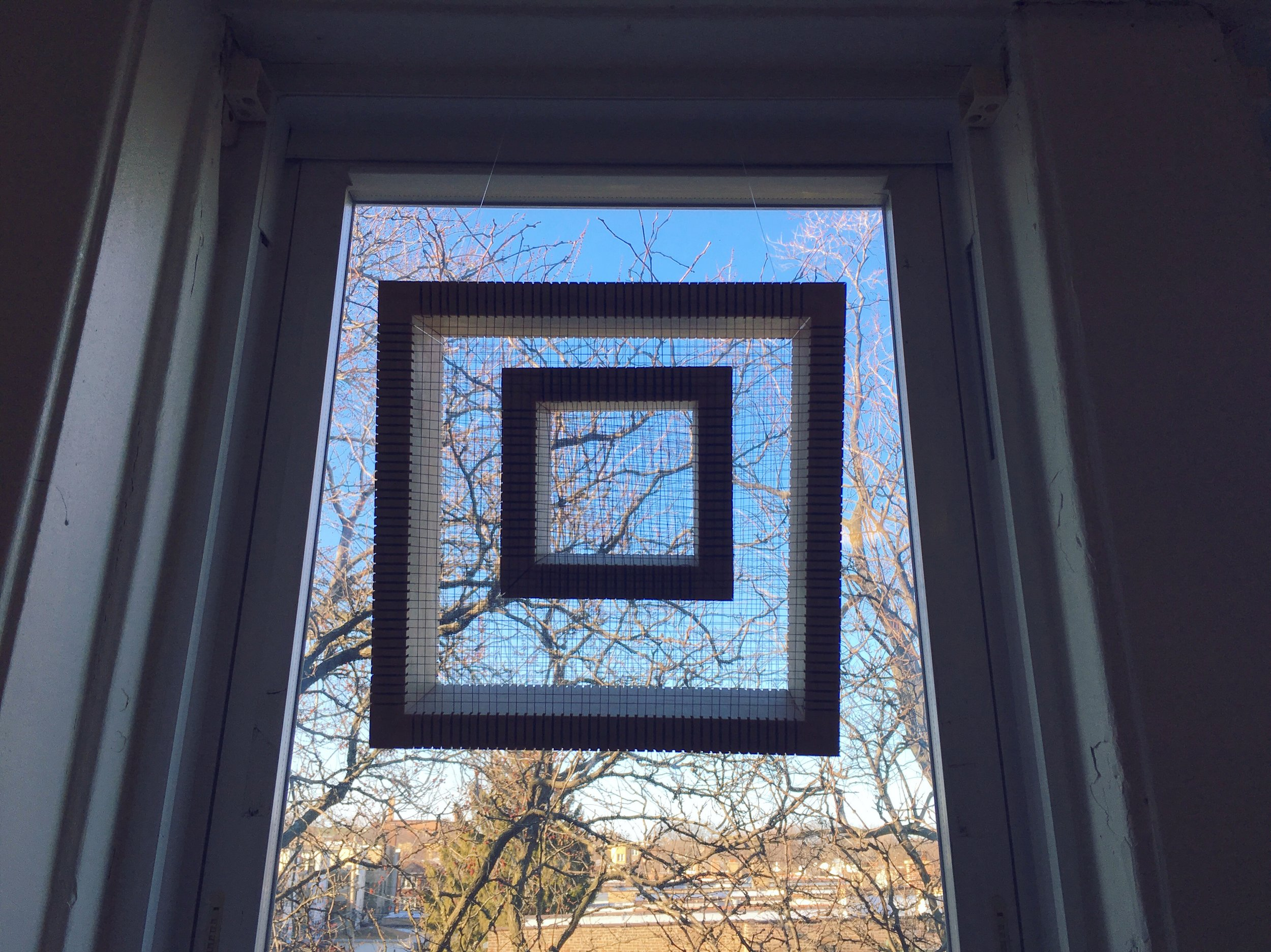 Two quadrats I, 2018, wood, thread
