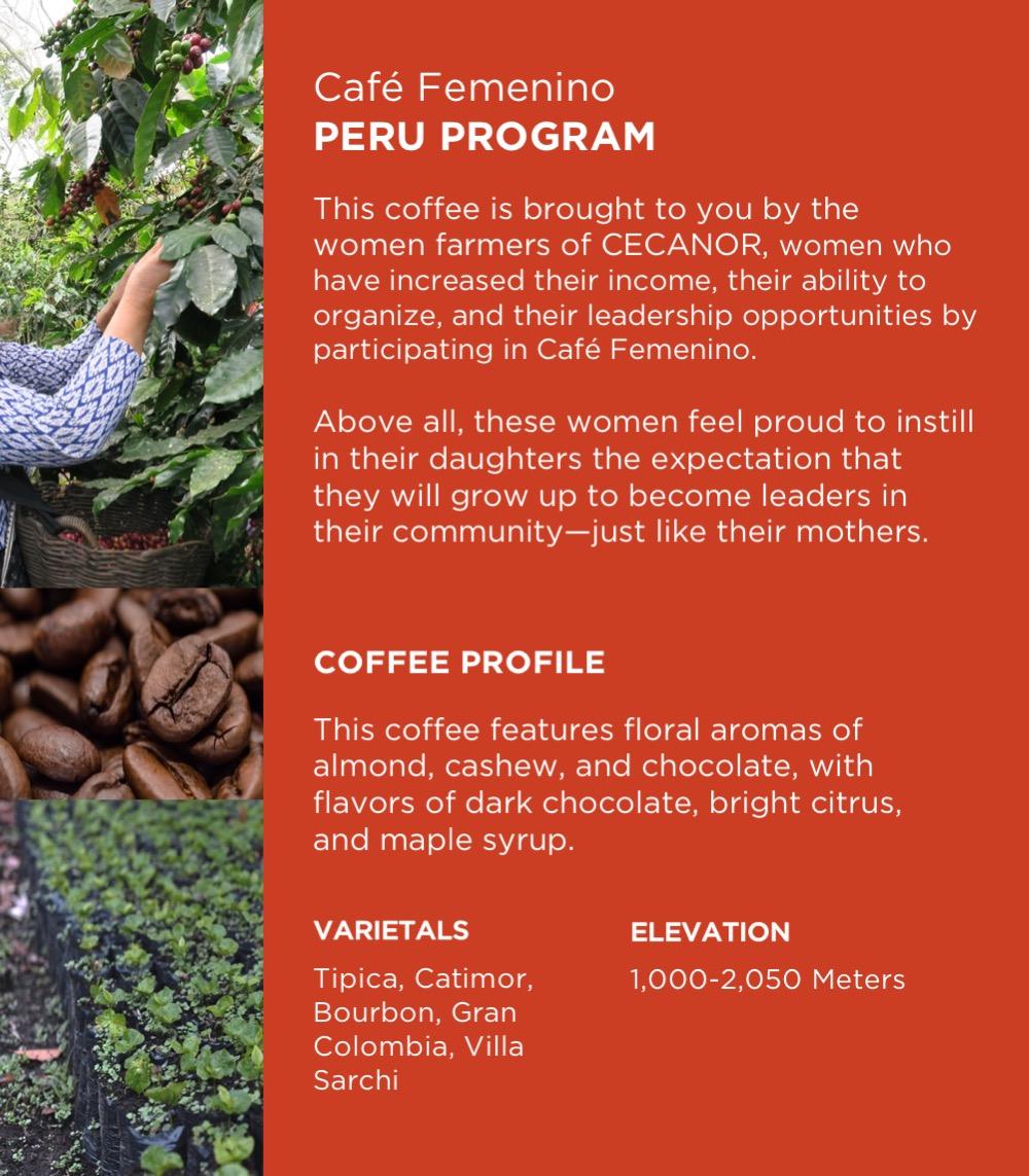 Café Femenino Peru12 oz bag - $13 - Single Origin. Fair Trade. Organic.