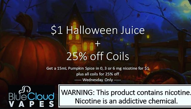 #bluecloudvapes #bluelabvapors #tampavape #tampavapers #tampabayvapers #vapedeals #ecig #vape #tampa #oldsmar #oldsmarvapers #clearwater #clearwatervapers #stpete #stpetevapers #bluecloudvapes #oldsmar #halloweendeals