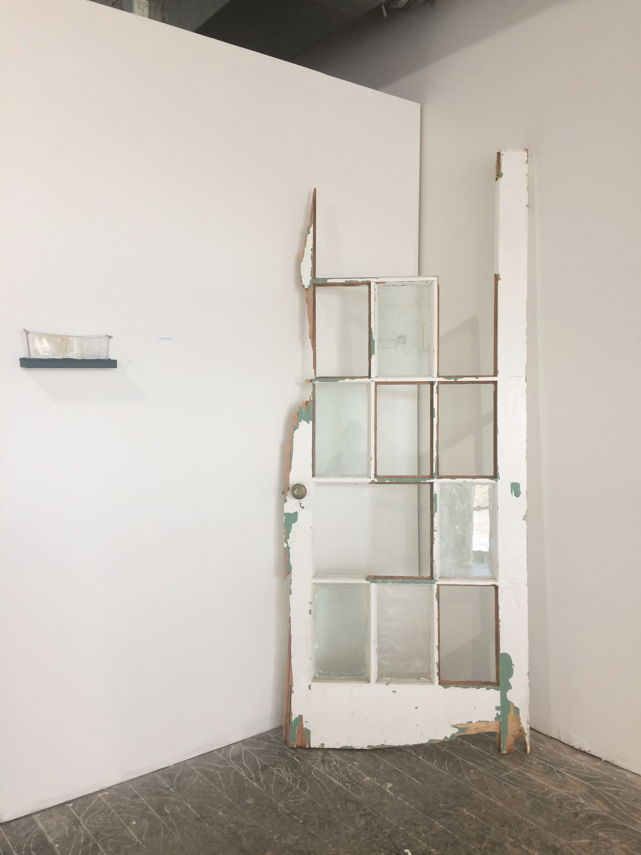 Untitled(Door), Wood, Glass, Acrylic Medium, Ink, and Thread, 2018