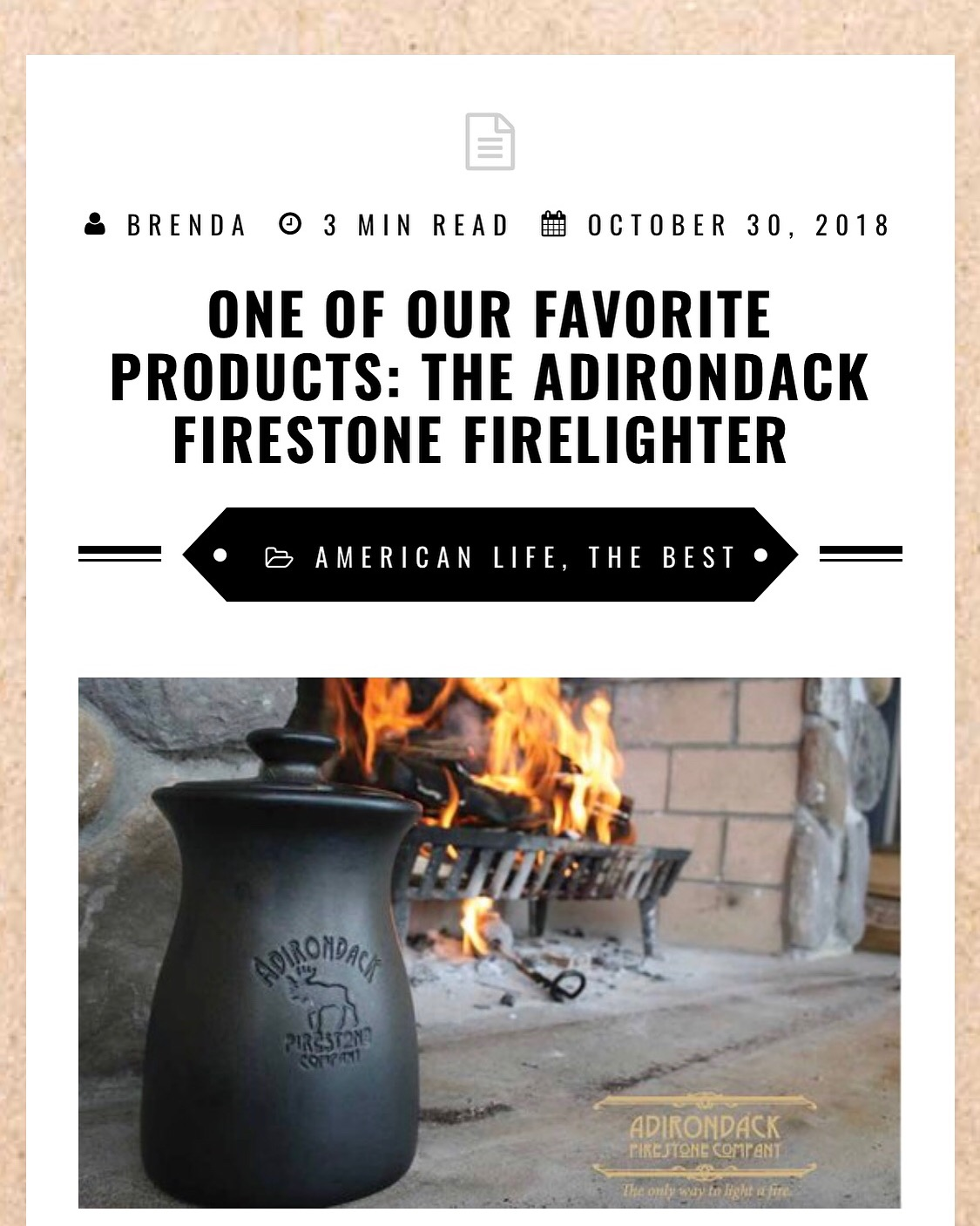 Bed and Breakfast establishments love using their Adirondack Firestone Firelighters!