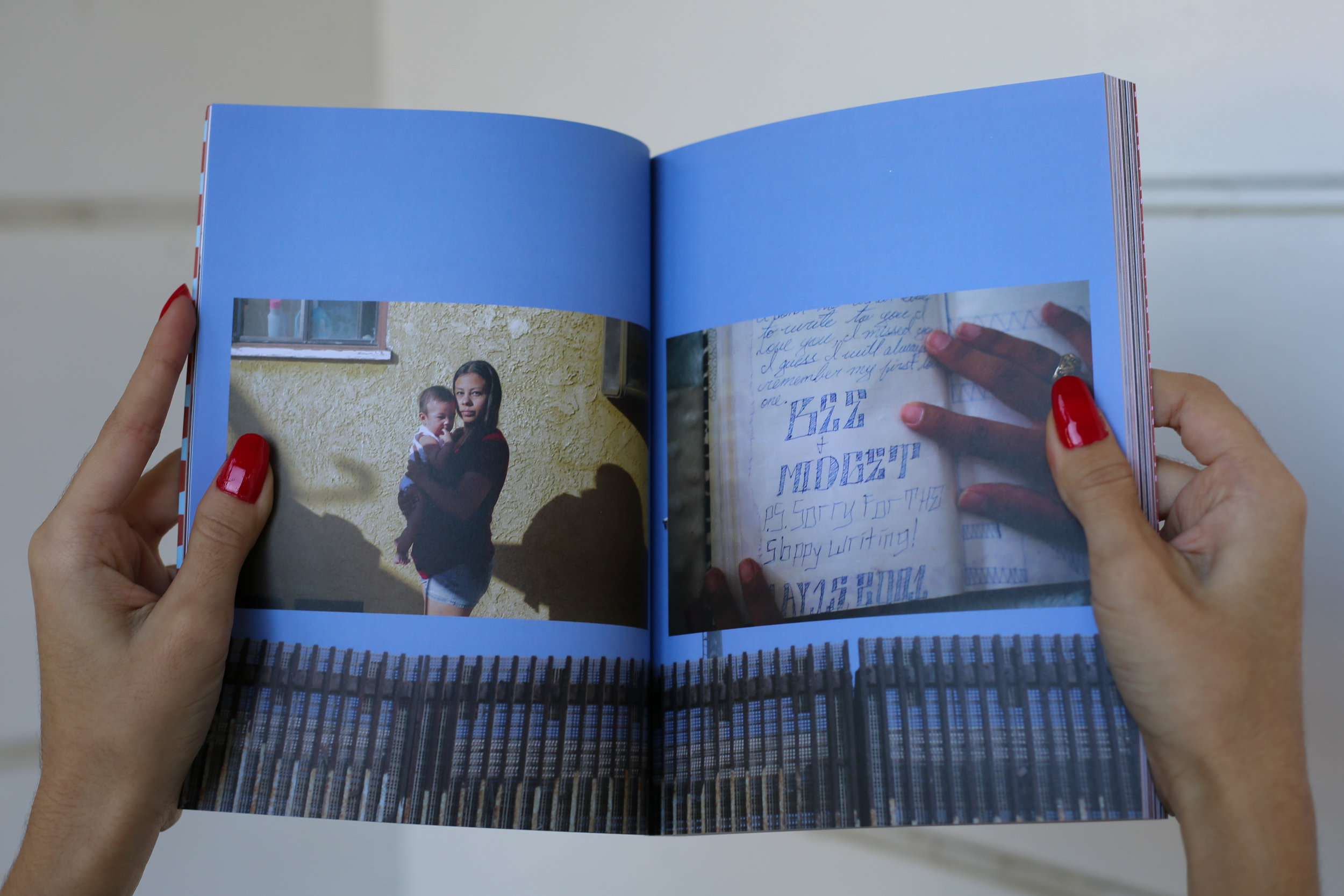 A spread of the U.S.-Mexico border with images of Maggie's story by Arlene Mejorado.