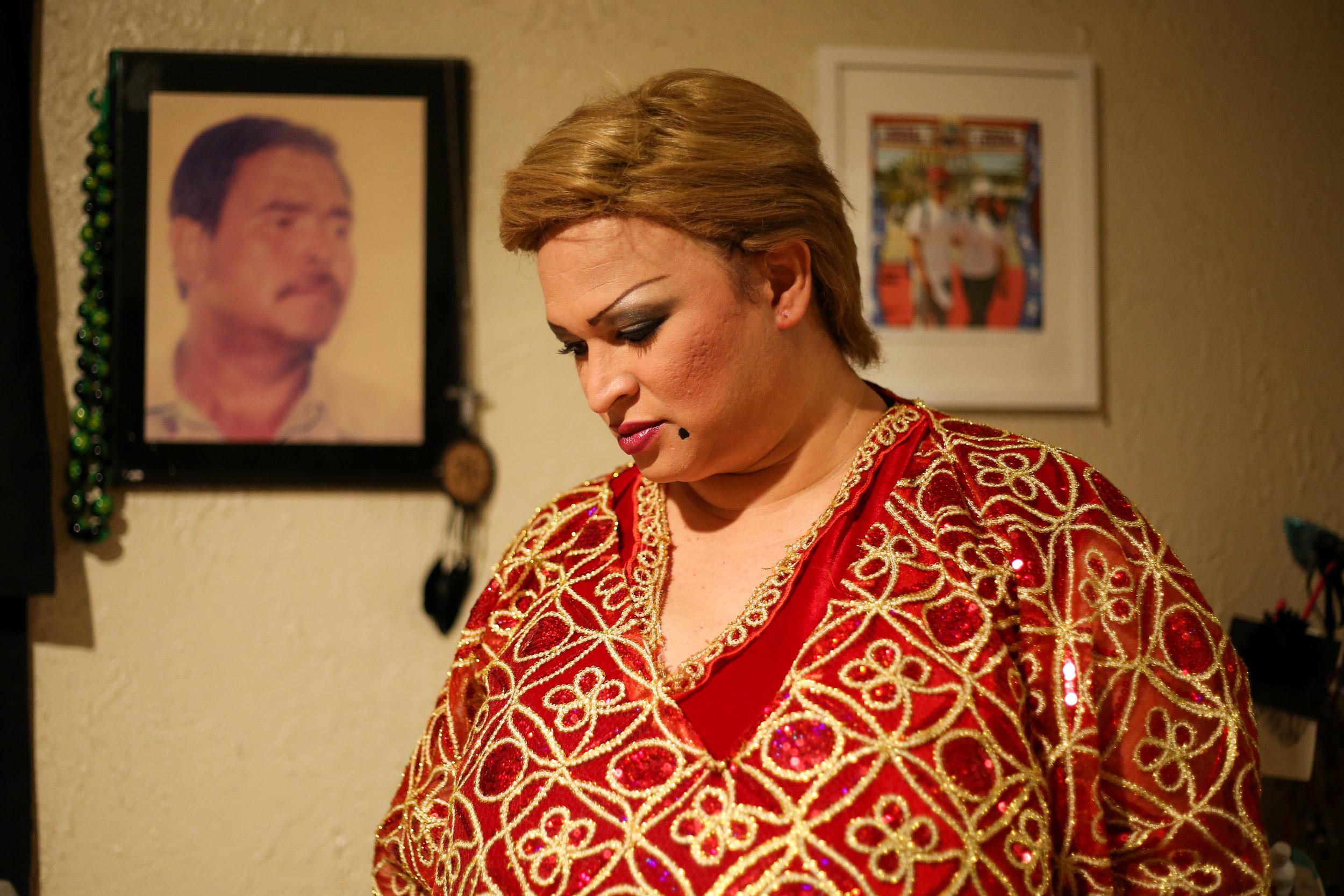 Barbara dressed as Paquita la del barrio, Inglewood, California 2017
