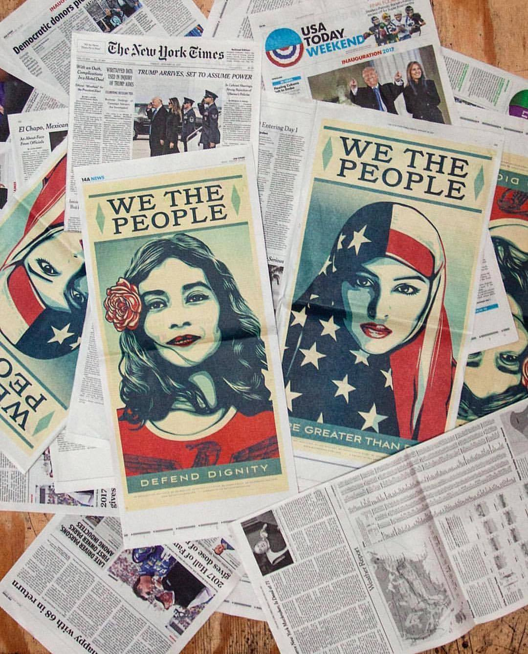 We the People Defend Dignity & We the People Are Greater Than Fear full page spreads published in the Washington Post on inauguration day.