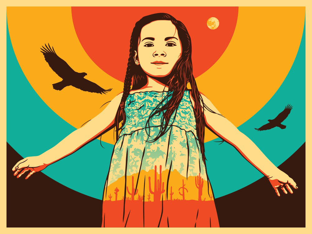 24x36 Screen print of Indigenous Roots Denied…No More by Ernesto Yerena and Arlene Mejorado.