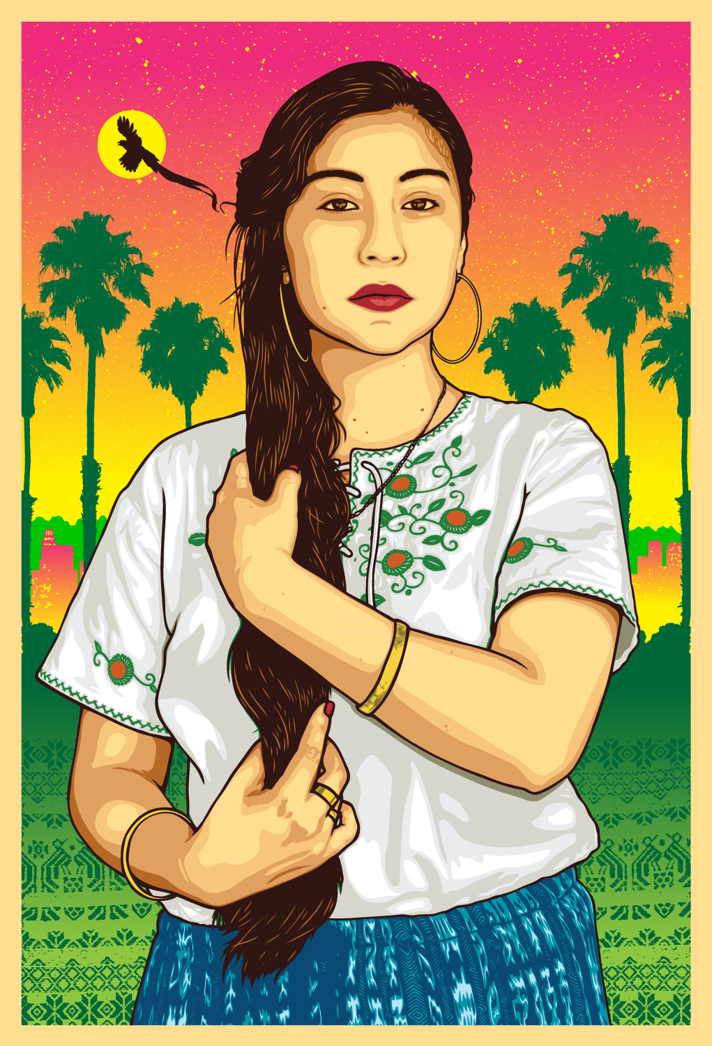 Soy Indigena, Not Hispanic, Not Latinx - 'Soy Indigena, Not Hispanic, Not Latinx' is an art piece by Ernesto Yerena in collaboration with activist Edna Chavez and photographer Arlene Mejorado inspired by Edna's identity as an Indigenous Guatamalan womxn and her rejection of labels placed upon her like