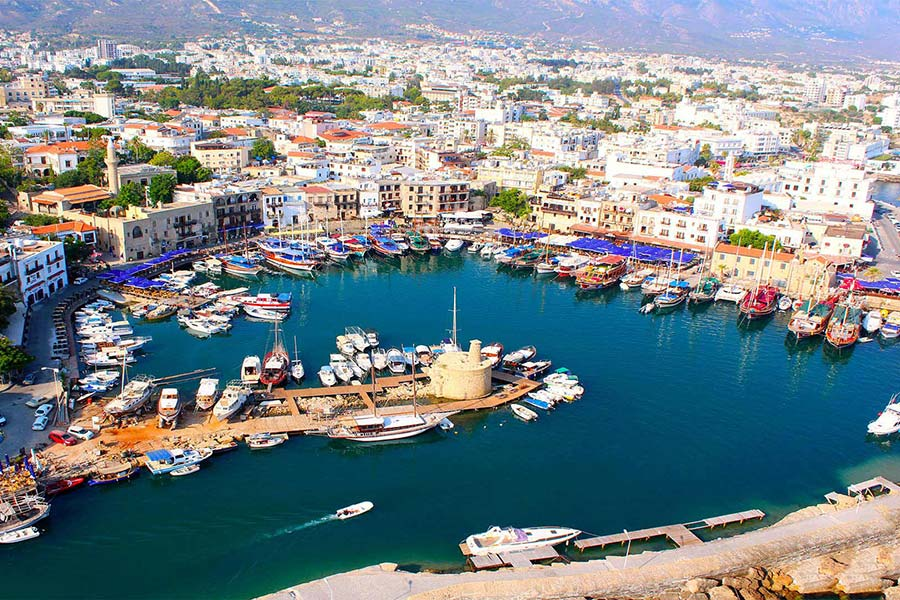 Kyrenia. Michael and Katalin's office is a bit to the left, behind the large red-and-white boat. Not bad, right?