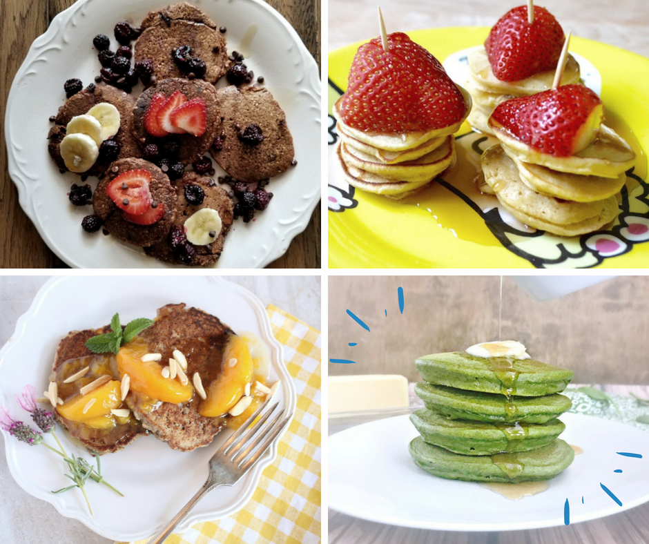 Top left- Vegan Chocolate Pancakes by Lexie Staten at Wholly Plants; Upper Right- mini whole wheat pancake stacks by Sarah Pflugradt at Salubrious RD; Lower Left- Almond Buckwehat Pancakes with Gingered Peaches by Sharon Palmer; Lower right- Green Pancakes by Brittany Poulson at Your Choice Nutrition