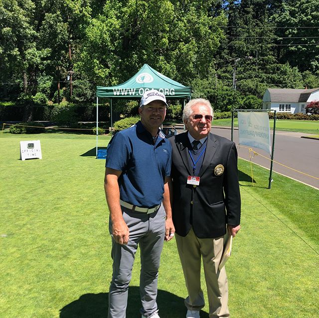 Arrived with my personal fan club to play the US Senior Open Qualifier. Let's tee it up! #holyroller #waverley #tournamentday #golflife #portland