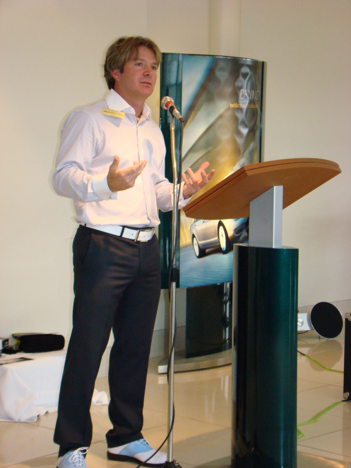 Bruchet speaking to a group of executives at the Mercedes Corporate Event in Calgary, AB.