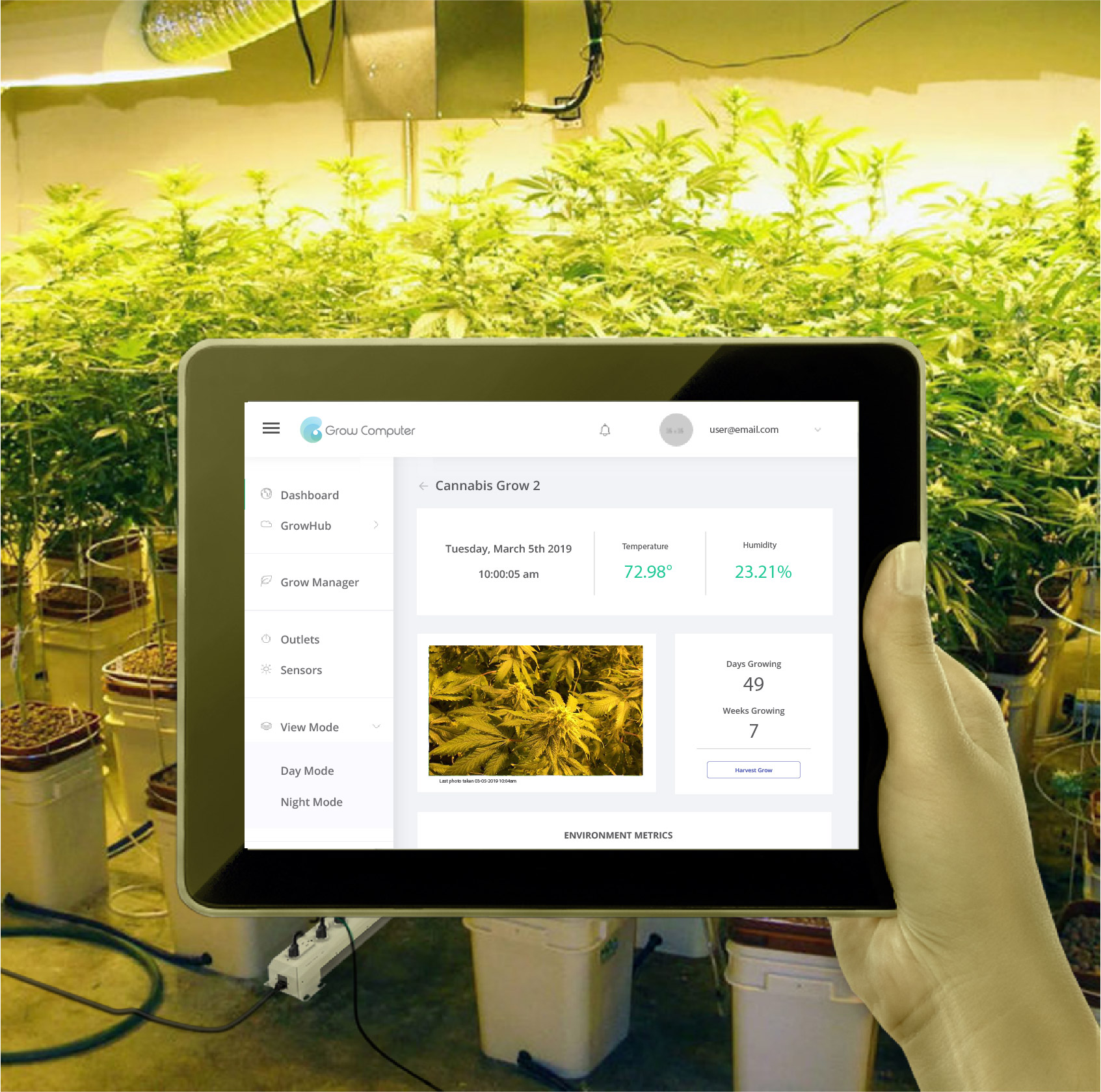 Check on your crop remotely with a connected device