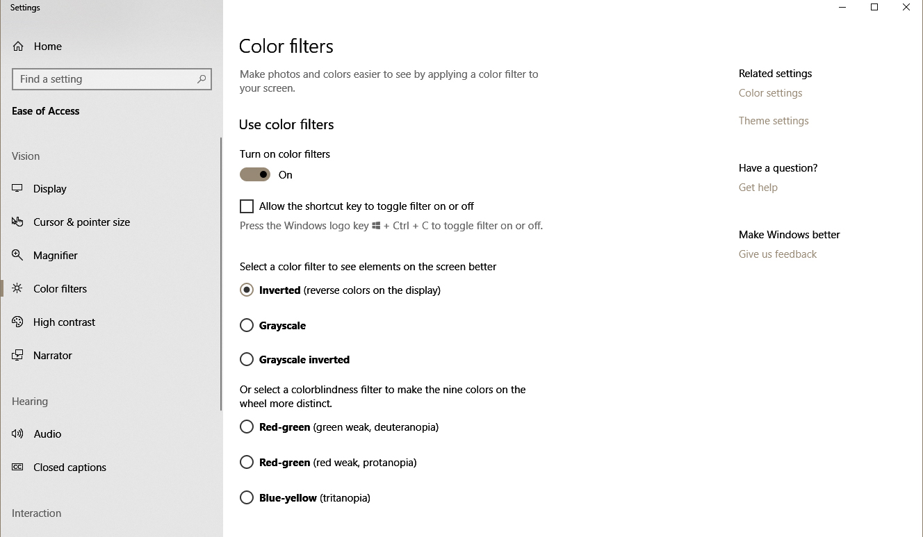 Accessibility options in Windows 10 OS. Color filters are available as toggle mode.
