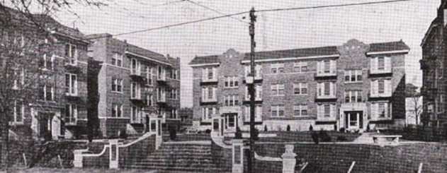 Apartments in the 2700 block of Troost designed by Nelle Peters (Photo:  Building Age and National Builder , November 1924, Volume 46, Page 96)