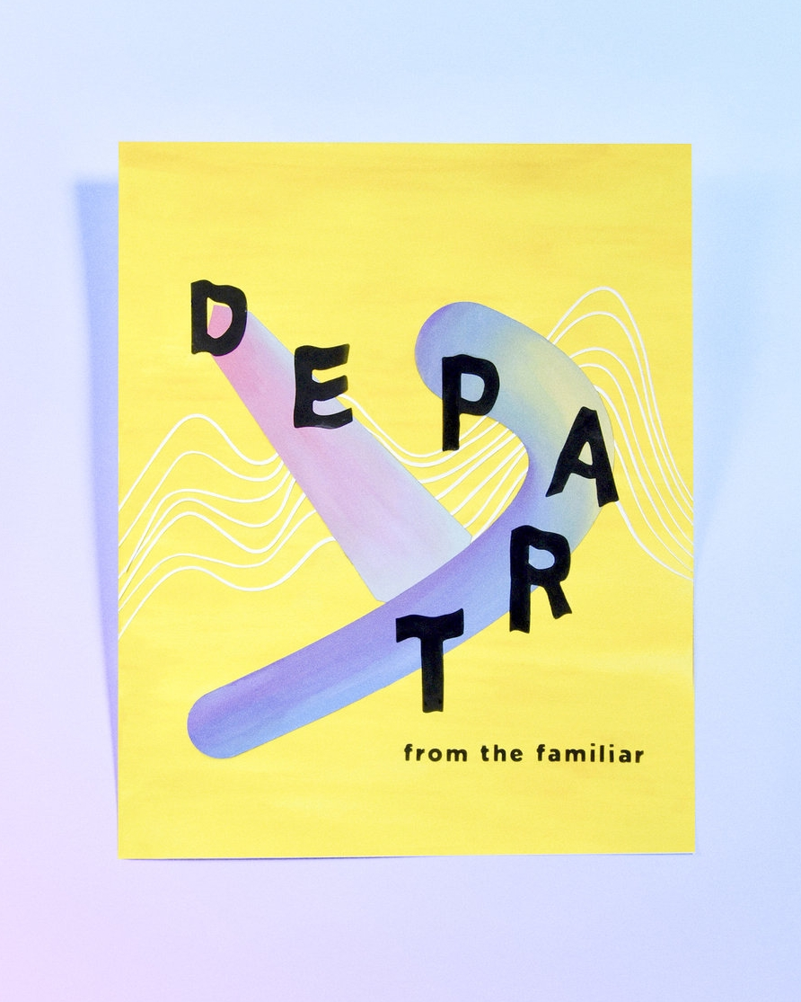 "Part 1 Depart |  16"" x20""  This poster depicts how I began my journey by stepping away from familiarity and immersing myself in an unfamiliar environment. Accepting the challenge of letting go of the old and accepting the new has allowed me to expand my perspectives on ways to pursue my potential."