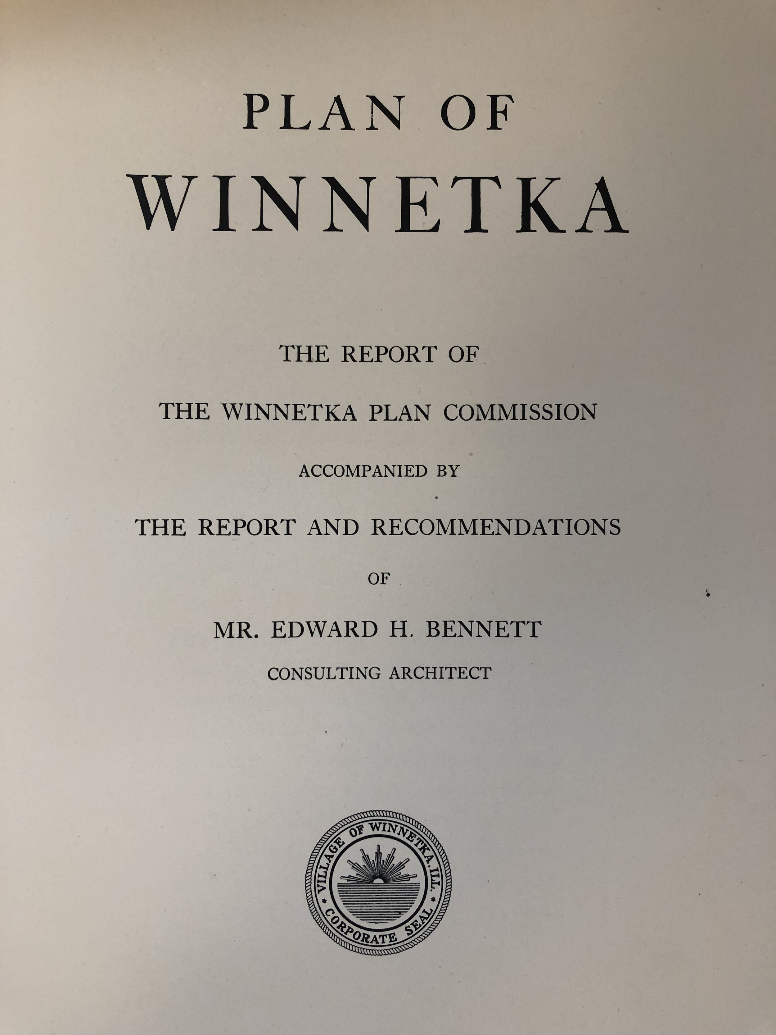 1921 - Plan of Winnetka is adopted to guide community growth - The 1921 Plan of Winnetka showed extreme foresight in urban planning by calling for preservation of green space, the creation for a Village Center and recommending the railroad tracks be placed below grade. Because of its recommendations our community enjoys aesthetic beauty and freedom from the traffic and safety problems caused by railroad crossings.