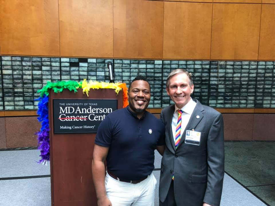 Chair Harrison Guy at the Pride Flag ceremony at MD Anderson Cancer Center on June 4, 2019.